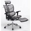 Эргономичное компьютерное кресло Expert Fly с выдвигаемой подножкой  (Серое)