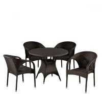 Обеденный комплект плетеной мебели из искусственного ротанга T190AD/Y290B-W52 Brown 4Pcs