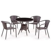 Обеденный комплект плетеной мебели из искусственного ротанга T197ANS-W53/Y137C-W53 Brown 4Pcs