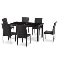 Комплект плетеной мебели из искусственного ротанга T246A/Y380A-W53 Brown 6Pcs