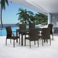 Обеденный комплект плетеной мебели из искусственного ротанга T256A/Y379A-W53 Brown 6Pcs