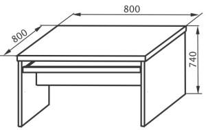 Стол компьютерный 800х800х745