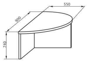 Приставка к конференционному столу 900х550х745