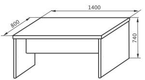 Стол рабочий 1400х800х745