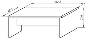 Стол рабочий 1600х800х745