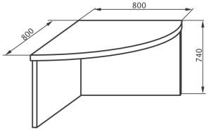 Угловой сегмент 800х800х745
