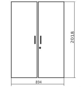 Комплект высоких дверей 894х18х2018