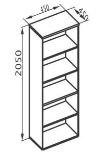 Стеллаж высокий узкий 450х450х2050