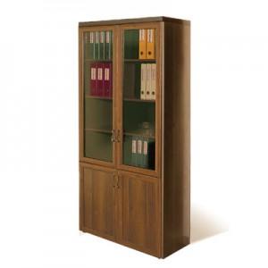 Шкаф книжный со стеклянными дверьми в рамке