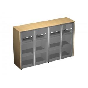 Шкаф для документов со стеклянными дверями (стенка из 2 шкафов) (184x46x120)
