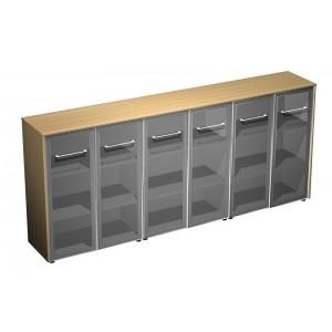 Шкаф для документов со стеклянными дверями (стенка из 3 шкафов) (274x46x120)