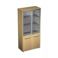 Шкаф для документов со стеклянными дверями полузакрытый (94x46x196)