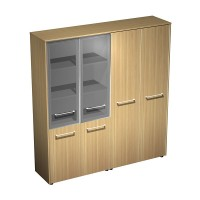 Шкаф комбинированный полузакрытый (стекло-одежда) (184x46x196)
