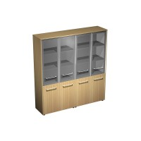 Шкаф для документов со стеклянными дверями (стенка из 2 шкафов) (184x46x196)