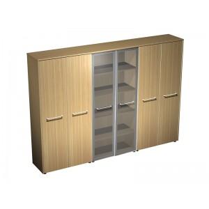Шкаф комбинированный (закрытый - стекло - закрытый) (274x46x196)