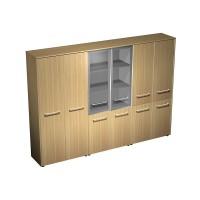 Шкаф комбинированный ( одежда - стекло - закрытый, 4 двери) (274x46x196)