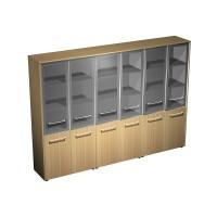 Шкаф для документов со стеклянными дверями (стенка из 3 шкафов) (274x46x196)