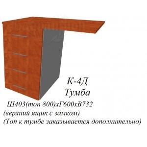 Корпус тумбы приставной 400х600х710