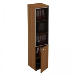 Шкаф для документов узкий со стеклянной дверью в рамке правый 46x46x197
