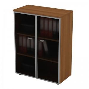 Шкаф для документов средний со стеклянными дверями в рамке 90x46x120