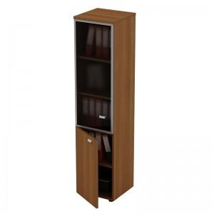 Шкаф для документов узкий со стеклянной дверью в рамке левый 46x46x197