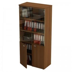 Шкаф для документов со стеклянными прозрачными дверями 90x46x197