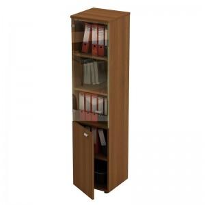 Шкаф для документов узкий со стеклянной прозрачной дверью 46x46x197