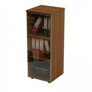 Шкаф для документов средний узкий со стеклянной прозрачной дверью 46x46x120