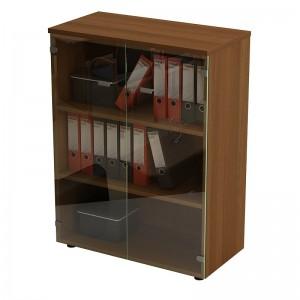 Шкаф для документов средний со стеклянными прозрачными дверями 90x46x120