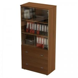 Шкаф для документов с ящиками со стеклянными прозрачными дверями 90x46x197