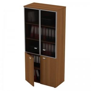 Шкаф для документов со стеклянными дверями в рамке 90x46x197