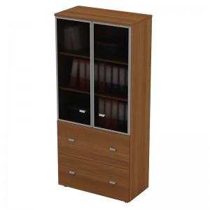 Шкаф для документов с ящиками со стеклянными дверями в рамке