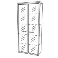 """Шкаф для документов со стеклянными прозрачными дверями в рамке (90x46x197) """"Патриот"""""""