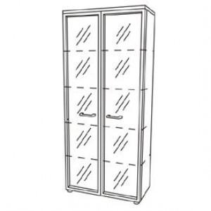 Шкаф для документов со стеклянными прозрачными дверями в рамке (90x46x197)